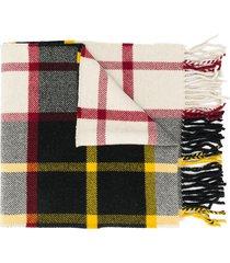 jil sander check-pattern fringed scarf - yellow