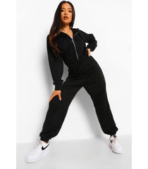 petite sweatstof jumpsuit met korset detail en capuchon, black