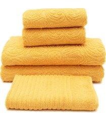 jogo de banho 5 pã§s buddemeyer florentina amarelo 70x135 - amarelo - dafiti