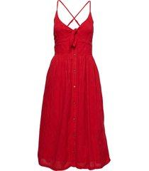 jayde tie front midi dress knälång klänning röd superdry