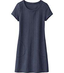 jersey jurk met visgraatstructuur, nachtblauw 40