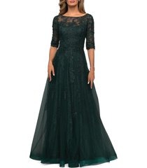 la femme floral lace & tulle gown, size 20 in emerald at nordstrom