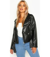plus leather look pu cropped belted jacket, black