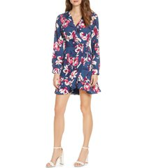 adelyn rae shayne long sleeve floral faux wrap dress, size large in blue multi at nordstrom