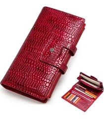 piel genuina cartera mujer contact's billetera largo lujo