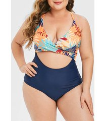 leaf print wrap bodice cutout plus size one-piece swimsuit