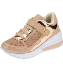 tãªnis sneaker joys shoes flat form bege/dourado - bege - menina - dafiti