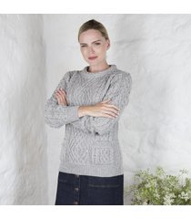 ladies aran cable pocket sweater gray large