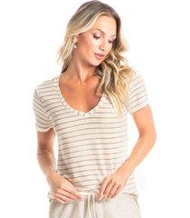 camiseta curta listrada lino vivi tricot