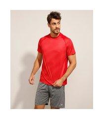 camiseta raglan esportiva ace estampada mini print manga curta gola careca vermelha