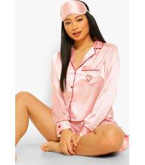 petite 3-delige satijnen pyjama set met shorts en slaapmasker, pink