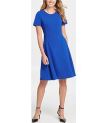dkny short sleeve fit & flare crepe dress
