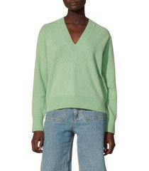 women's sandro v-neck wool & cashmere sweater, size 4 - green