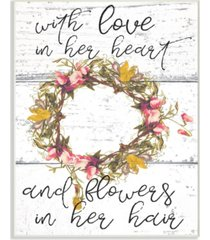 """stupell industries love in her heart flowers in her hair flower crown wall plaque art, 10"""" x 15"""""""