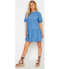seam detail denim smock dress, mid blue