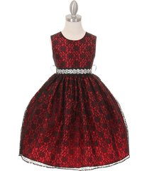 red two-tone full lace with pearl sequin rhinestone sash party flower girl dress