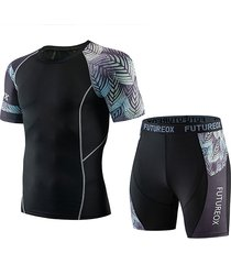 traje deportivo con estampado de letras y patchwork deportivo para hombre
