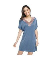 camisão feminino curto azul denim com renda rosê acobreado