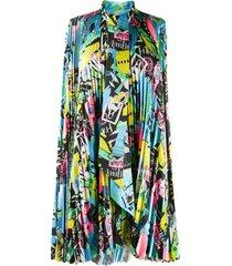 balenciaga balenciaga paris city print dress