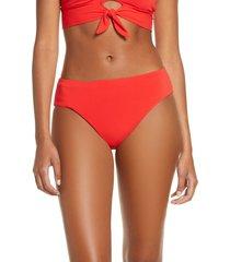 women's robin piccone ava high waist bikini bottoms, size small - red