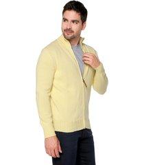 sweater amarillo 39 preppy m/l c/alto abierto cremallera tej medio