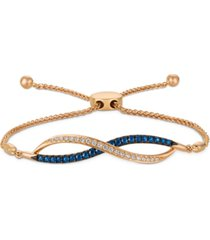 le vian blueberry sapphire (3/8 ct. t.w.) & vanilla diamond (1/6 ct. t.w.) bolo bracelet in 14k rose gold