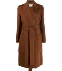 acne studios belted midi coat - brown