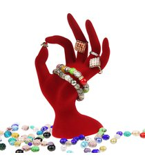 moda nero / rosso gioielli velluto espositori anello bracciale collana appeso a mano titolare