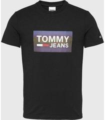 polera tommy jeans tjm stretch tee centre logo negro - calce regular