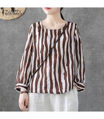 zanzea mujeres de manga larga a rayas con cuello redondo de tapas de la camisa floja de la impresión floral de la blusa del tamaño extra grande -marrón