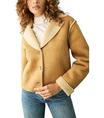 women's reformation stoke faux shearling jacket, size large - beige
