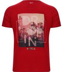 camiseta hombre dropin color rojo, talla s