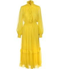 etro long yellow silk dress with ruffles