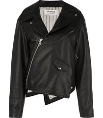 monse twisted leather biker jacket - black