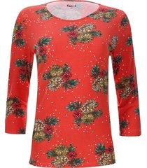 camiseta estampada flores color rojo, talla s