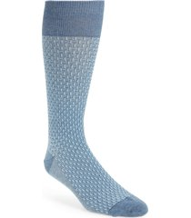 men's cole haan dog bone texture crew socks, size one size - grey