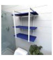 prateleira industrial para banheiro aço branco prateleiras 30cm azul escuro modelo indb09azb