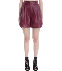 red valentino shorts in bordeaux leather