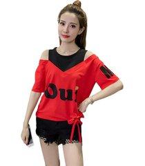 las mujeres short-sleeved t-shirt mujer-hombro off-the camiseta dos piezas falsas