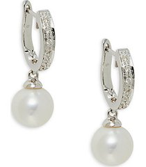14k white gold, diamond & 9mm cultured freshwater pearl hoop drop earrings