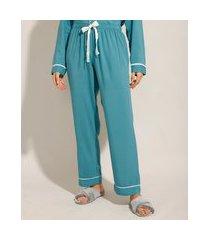 calça de pijama em viscose com vivo contrastante verde