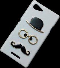 cute mustache hat glasses designed hard back skin case cover for sony xperia e3