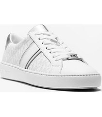 mk sneaker irving con righe in pelle metallizzata e logo - bright wht - michael kors