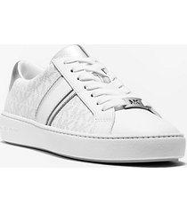 mk sneaker irving con righe in pelle metallizzata e logo - bright wht - michael kors