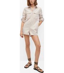 mango women's denim short jumpsuit