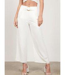 pantalones de cintura alta con bolsillos blancos yoins
