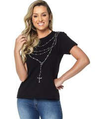 t-shirt daniela cristina gola u 06 602dc10281 preto - preto - feminino - dafiti