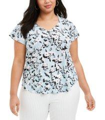 nine west plus size printed v-neck blouse