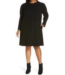 plus size women's lafayette 148 new york gia long sleeve finesse crepe shift dress, size 3x - black