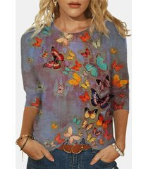 camicetta in cotone taglia plus con stampa farfalle o collo